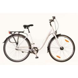 Neuzer Padova 28-as női városi kerékpár, alumínium, agyváltós (3s), agydinamós, 17-es, fehér-pink