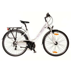 Neuzer Ravenna 200 női 28-as trekking kerékpár, 24s, alumínium,agydinamós, 17-es, fehér-lila-szürke