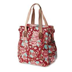Basil Bloom Shopper táska csomagtartóra, virágos, piros