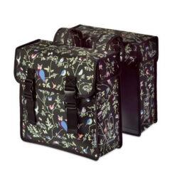 Basil Wanderlust két részes táska csomagtartóra, 35L, madár mintás, fekete