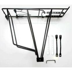 Velotech acél csomagtartó 24-28 colos kerékpárokhoz, hátra, acél, fekete
