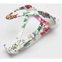 Ostand Plastic kulacstartó, fehér, virágmintás