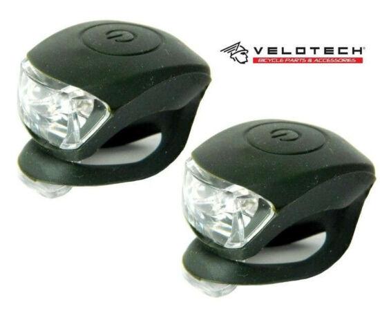 Velotech 2 LED-es első + hátsó villogó szett, oliva