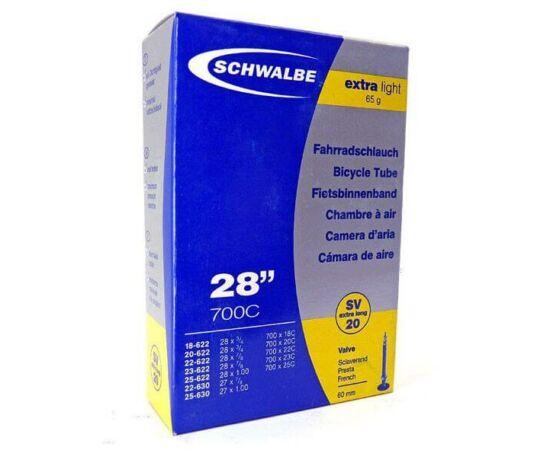 Schwalbe SVL20 622 x 18/25 Extra Light belső gumi 60 mm hosszú szeleppel 65 g, presta