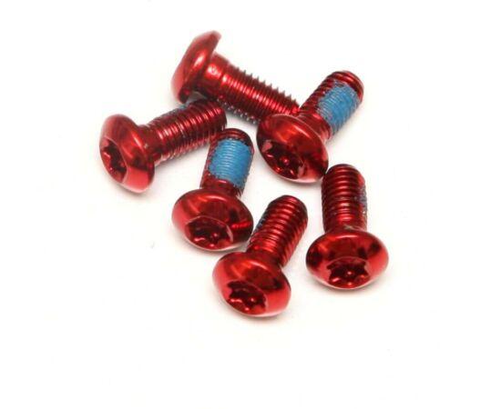 Spyral féktárcsa csavar szett, 6 db, T25, M5 x 10 mm, piros