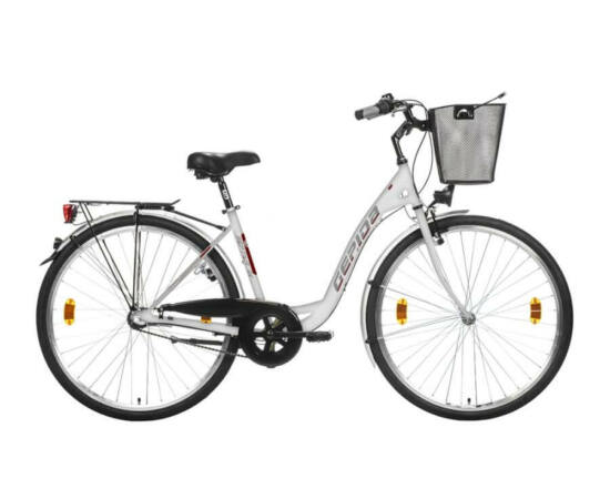 Gepida Reptila 100 acél 28-as női városi kerékpár, 3s (agyváltós), 45 cm, fehér
