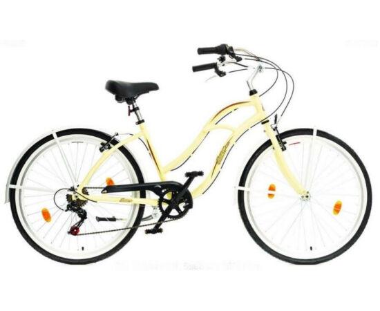 Hauser Cruiser női 26-os városi kerékpár, alumínium, 6s, 18-as, krém