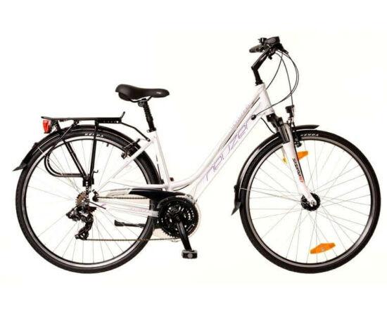 Neuzer Ravenna 100 női 28-as trekking kerékpár, 21s, alumínium, agydinamós, 17-es, fehér-lila-türkiz
