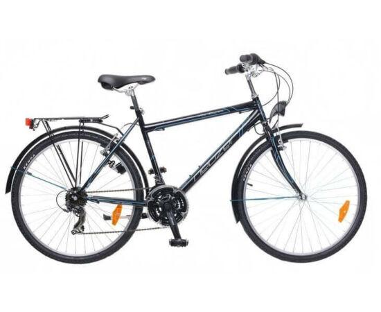 Neuzer Venezia 30 26-os férfi városi kerékpár, 21s, acél, 17-es, feklete-cián-fehér