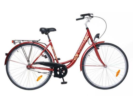 Neuzer Balaton 28-as női városi kerékpár bordó, virágmintás