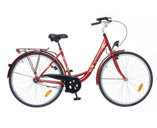 Neuzer Balaton 26-os női városi agyváltós kerékpár bordó, acél, 3s, virágmintás
