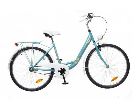 Neuzer Balaton Plus 26-os női városi kerékpár türkiz, virágmintás