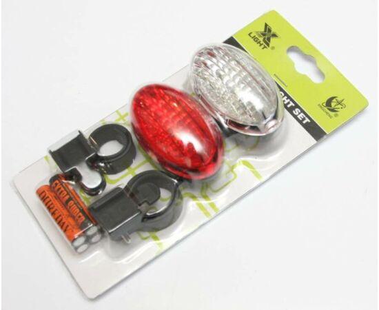 XC Light 8004 lámpa szett (3-3 LED első-hátsó) elemekkel