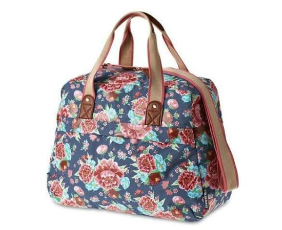 Basil Bloom Carry All táska csomagtartóra, 18L, virágos, indigókék