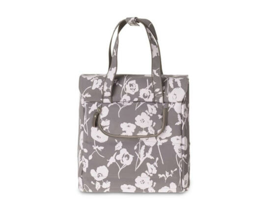 Basil Elegance Shopper táska csomagtartóra, virágos, szürke