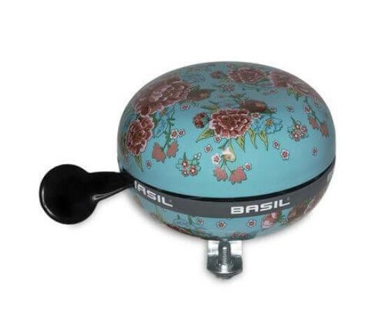 Basil acél csengő, 80 mm, türkiz - virágos