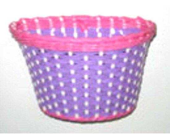 Velotech műanyag első kosár gyerek kerékpárra, fonott mintás, lila - rózsaszín